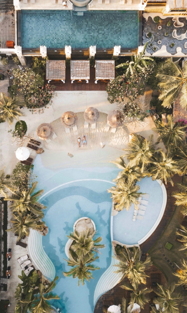 bali mandira beach pool aerial view
